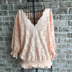 Perfectly Priscilla Eyelet Lace Top Peach 1XL NWT